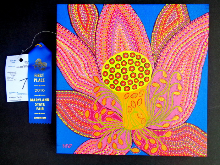 "Natalya B. Parris's painting Lotus  won 1st place at the Maryland State Fair 2016. It is on display at ""Holiday Days International Exhibition"" IMPULSE ARTS HOUSTON, 15404 FM 529 Rd.,Houston TX, reception on December 10, 2016, 7pm - 10pm; Tel. 281.856.8900"