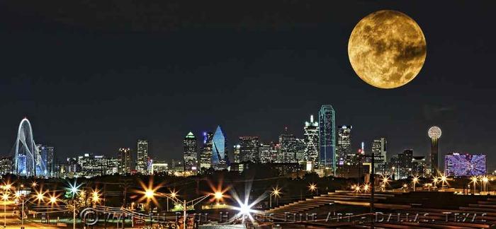 2015 Dallas Skyline Supermoon