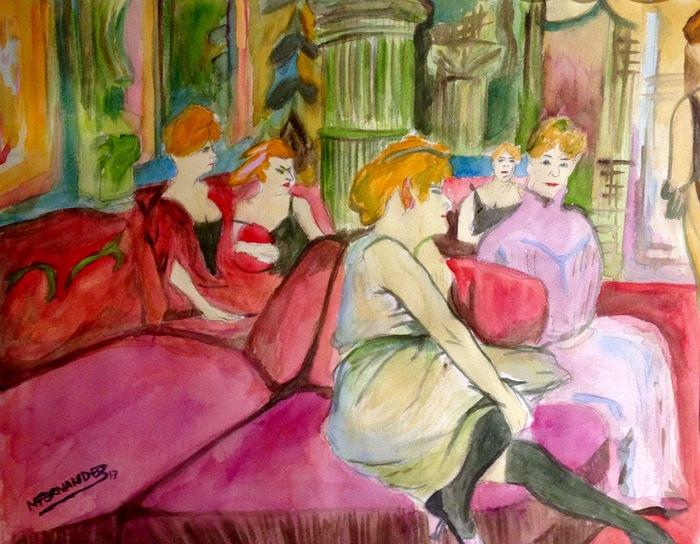 """""""The Salon de la Rue des Moulins of Henri de Toulouse-Lautrec"""" Watercolur on Paper 38x44cm"""