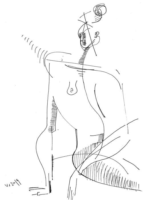 woman - nude - ink drawing