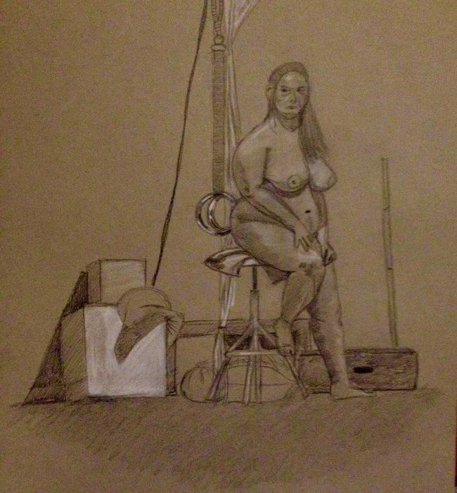 Life drawing with model. 45 min