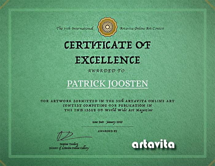 Patrick Joosten - Certificate of excellence