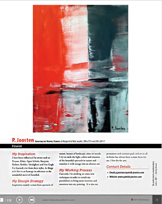 "International Artist magazin N° 134 Page 15, Patrick Joosten with "" Le Rouge et le Noir"""