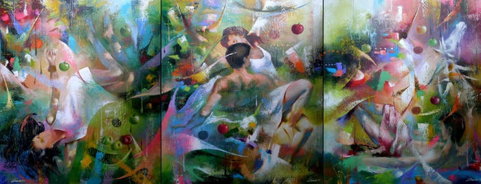 From a series Synaesthesia - communication between feelings-passions (triptych).110X285.c.o.2012