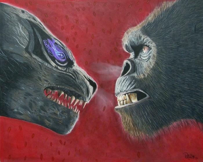 Godzilla VS Kong Colored Pencil drawing.