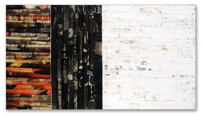 "James Verbicky. ""Diffuse II."" Mixed Media on Panel. 30"" x 55"""