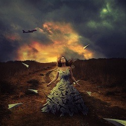 "Brooke Shaden. ""Waiting to Fly."" Photograph on Acrylic. 50"" x 50."""