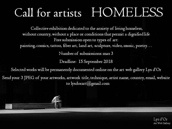 "Call for artists ""Homeless"" - Lys d'Or art web gallery"