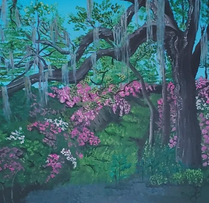 Georgia Woods, Spanish Moss  and Flowers