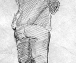 Sketh on  back, drawing on paper, 19x14 cm/