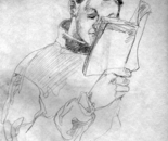 Reading, drawing on paper, 19x14 cm.