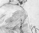 Sketch of a seated from the back, drawing on paper, 19x14 cm.
