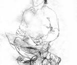 Sketch of Sergey Bogomolov, drawing on paper,19x14 cm.