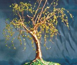 Elm on Lawn - Beaded Wire Tree Sculpture