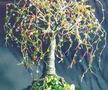 MULTI COLOR OAK - Beaded  Wire Tree Sculpture