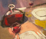 RED WINE CARAFE, oil/canvas 40 x 40 cm, 2011; Nr. 11.03
