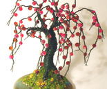 SMALL APPLE  No.2 - Beaded Wire Tree Sculpture