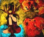 The power of a woman 100x100x4 cm acrylic on canvas 2009