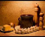 Still life with kitchen mills