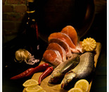 Still life with trouts and salmons