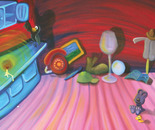 Painting from the book Otso-Karhu ja laulava mato, 10/13, 2004, 65 x 55 cm, oil on canvas