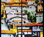 AL OTRO LADO DEL RIO (diptico). Acrilico sobre lienzo. 160 x 170 cm. 2011