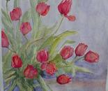 tulipani in vaso blu