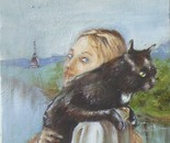 Vasia (self portrait with a cat)