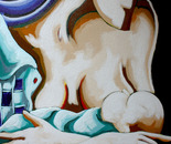 MADRE CON HIJO EN BRAZOS. Acrilico sobre lienzo. 50 x 60 cm.