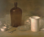 Still life with the chemical glassware. 1987