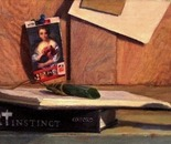 Still life with jar,  book & art objects, oil on board, 2011