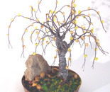 Beaded in Brass - Wire Tree Sculpture