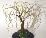 Beaded on Black Base - Wire Tree Sculpture
