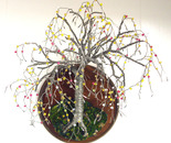 Beaded on Round Base - Wall Art Sculpture
