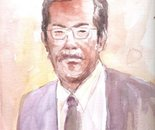 Me in Watercolor Sketch - watercolor on paper - 8in x 12in