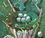 Gjøken frir til kongeørnen - acrylic/canvas - 55x66