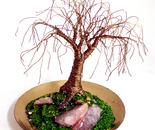 TINY BRASS OAK - Mini Wire Tree Sculpture,  by Sal Villano