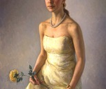 Lady with yellow rose, 90x70cm,oil on canvas, 2010