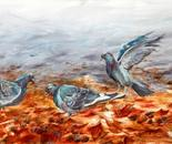 Three Doves on Autumn leaves