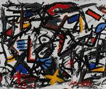 Num. 1329 Panorama de un Artista.  Acrylic on Canvas. 62 x 175 in. 2009.