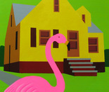 Yellow Bungalow with Pink Flamingo