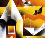Sui gialli bagliori_acrilico su tavola cm. 70 x 70