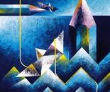 Luci e ombre con traccia gialla_acrilico su tavola cm. 50 x 50