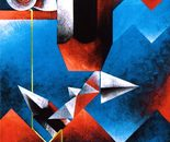 Sui rossi riflessi_acrilico su tavola cm. 70 x 50