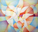 Le tre colombe_pastelli policromi su cartoncino Fabriano