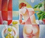 Sul terrazzo_acrilico su tavola sabbiata_cm.50 x 50