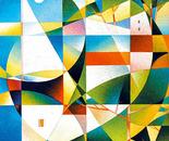 Paesaggio con barca_acrilico su tavola sabbiata cm. 100 x 100