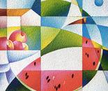 Sapori d'estate_acrilico su tavola sabbiata cm. 40 x 40