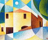Paesaggio a Guarene_acrilico su tavola con carta vinilica_cm.50 x 70