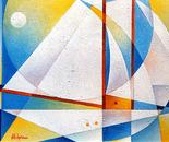 Il veliero_acrilic su tavola sabbiata_cm.50 x 70